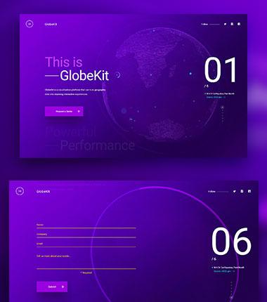 GlobeKit是一个可视化平台,蓝紫色配色专题站